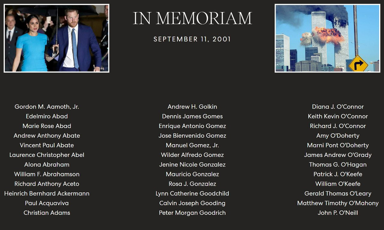 Was Harry and Meghan's 9/11 Memorial Page on Their ArchewellOffensive?